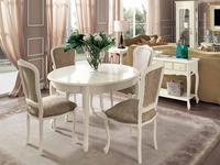 Cavio: Франческа: стол обеденный круглый раскладной 120/160  (crema)