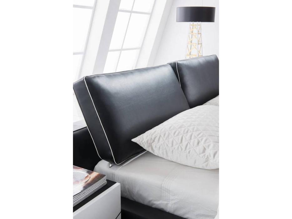 ESF: 1150: кровать двуспальная 160х200 (экокожа, черный)