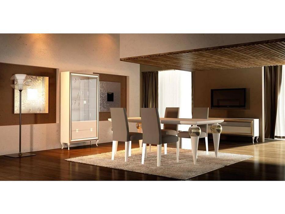 DeMiguel: Brera: стол обеденный  (белый 105, золото 117)