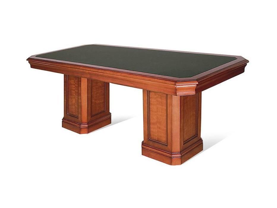 Ришар: стол переговорный  (черешня, кожа зеленая)