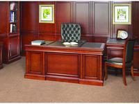Ришар: стол письменный  (шпон черешня, кожа тёмно-зелёная)
