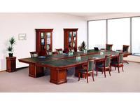 Ришар: стол переговорный  наборный (черешня, кожа зеленая)