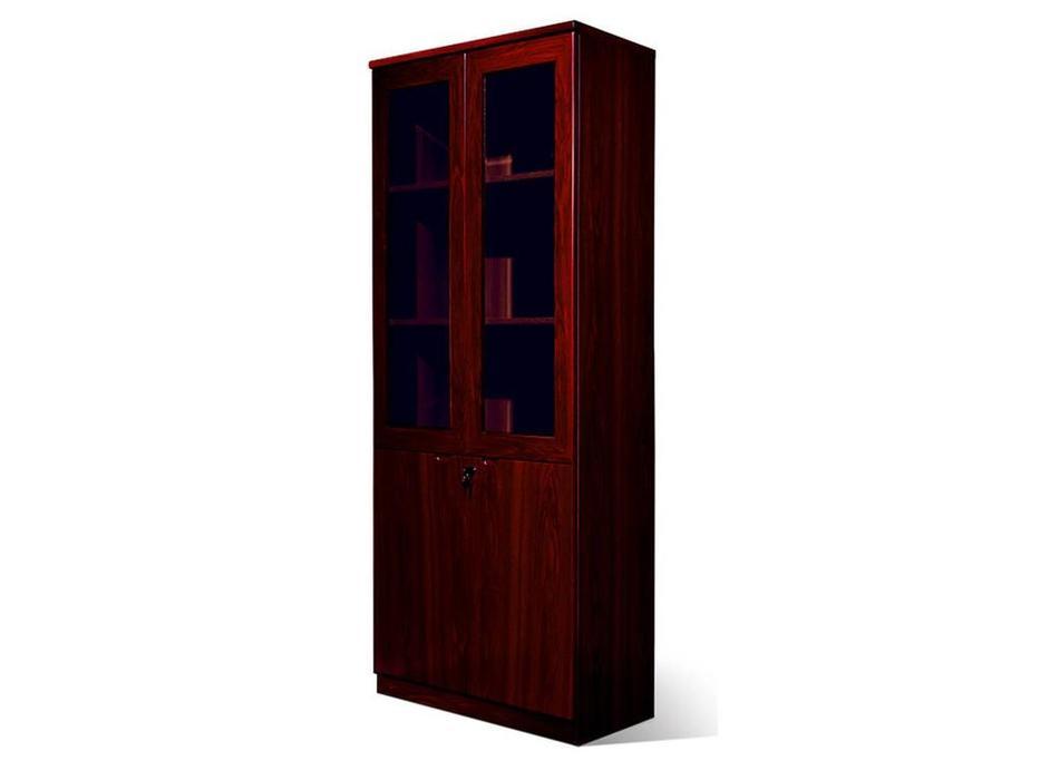 Шен-Жен: шкаф для документов 2-х дв.стекл.  (махагон)
