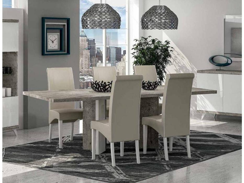Status: Treviso: стол обеденный  раскладной (белый лак, цемент)