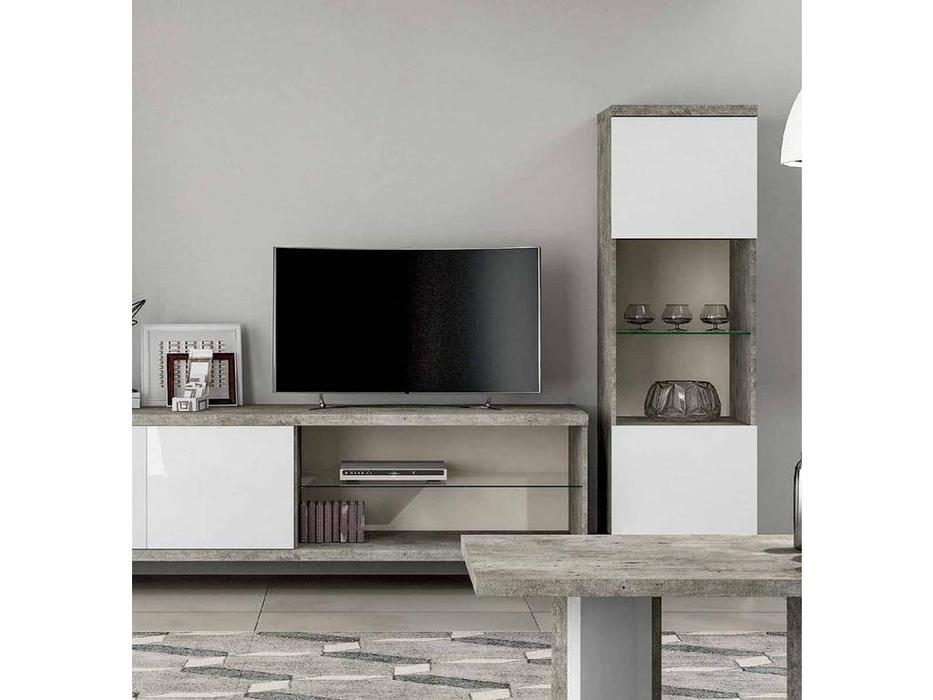 Status: Treviso: тумба под телевизор  с открытой полкой (белый лак, цемент)