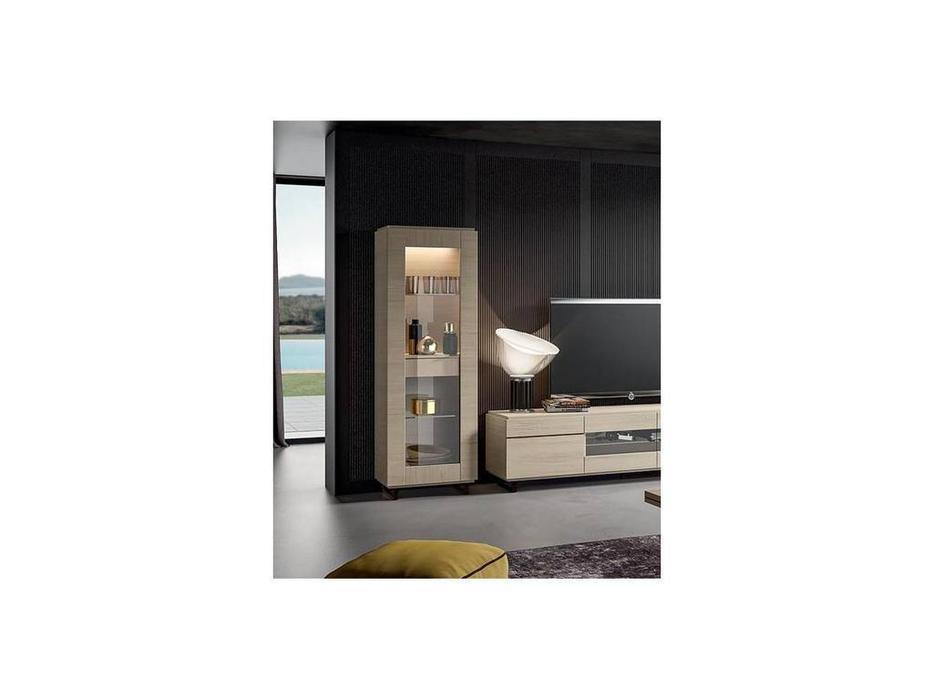 Status: Perla White: витрина 1 дверная  с ящиком (белый дуб)
