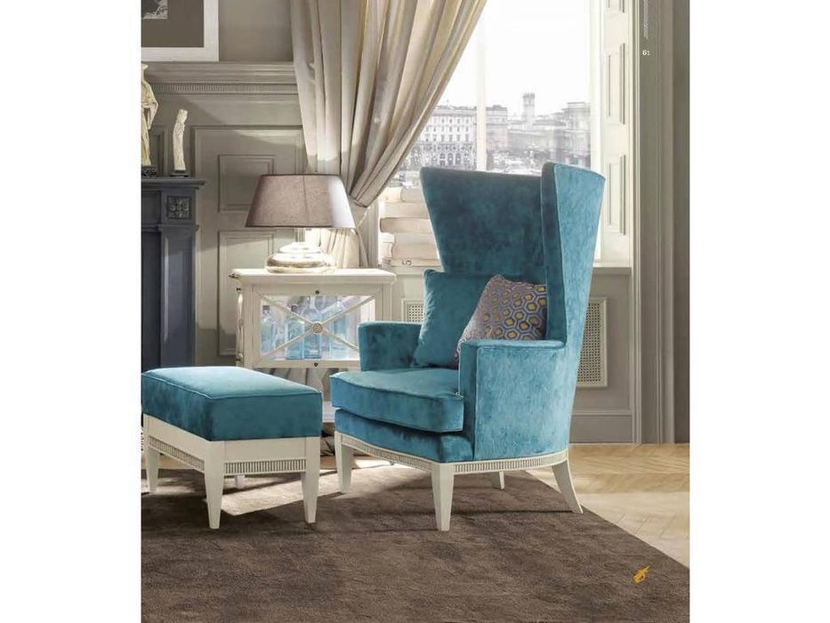 Tosato: Desideri: кресло на ножках  (белый, ткань берюза)