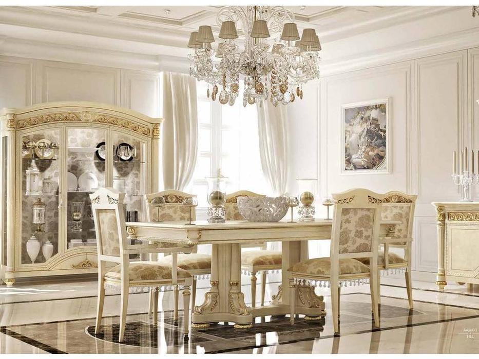 Valderamobili: LuigiXVI: стол обеденный раскладной  (крем, позолота)