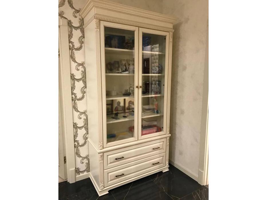 Arco: Decor: витрина 2-х дверная  (беж, коричневая патина)