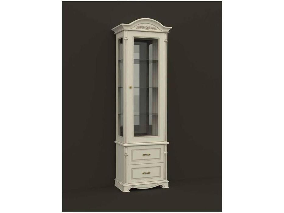 Arco: Esperansa: витрина 1 дверная  2 ящ правая (белый, патина- коричневая)