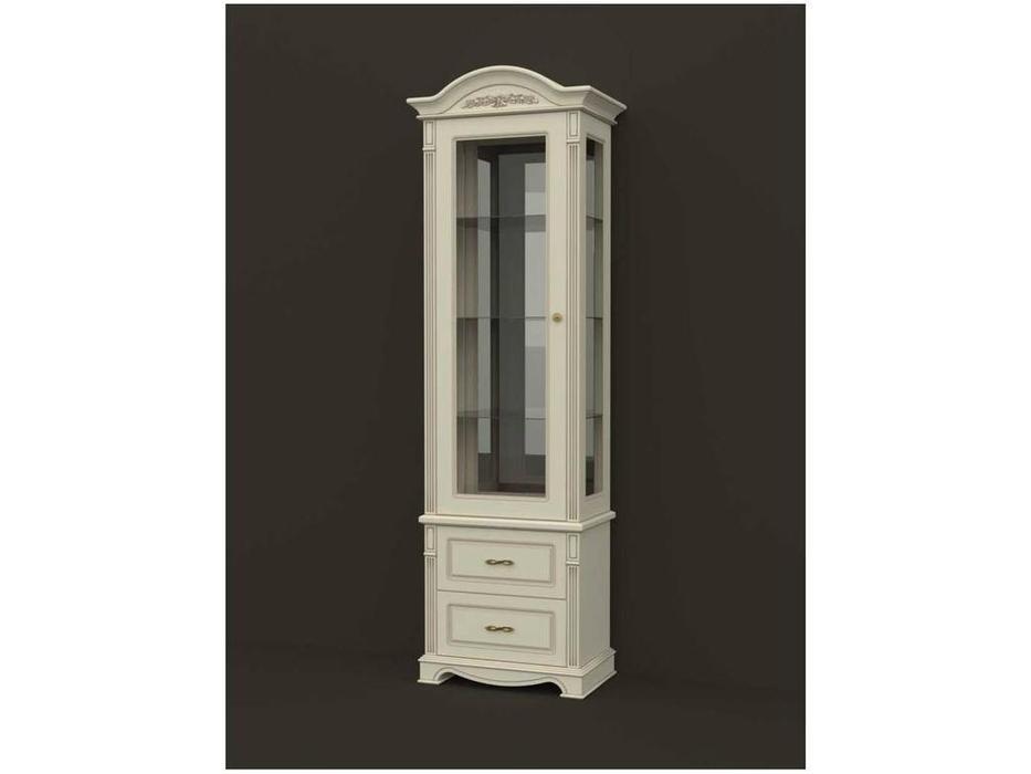 Arco: Esperansa: витрина 1 дверная  2 ящ левая (белый, патина- коричневая)