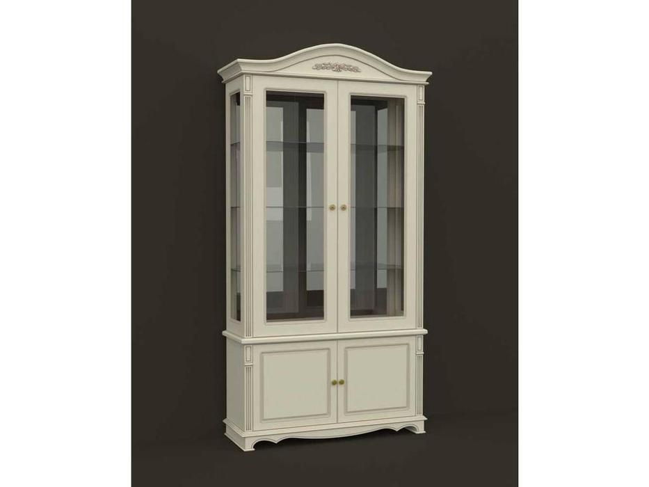 Arco: Esperansa: витрина 2-х дверная  (белый, патина- коричневая)