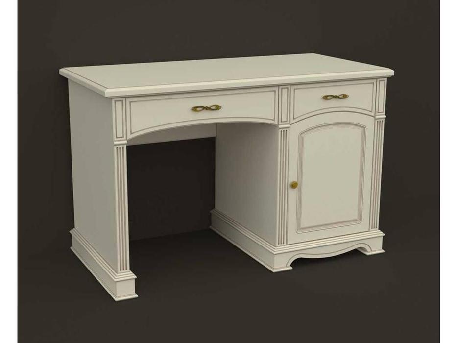 Arco: Esperansa: стол письменный  1 дв., 2 ящ. (белый, патина- коричневая)