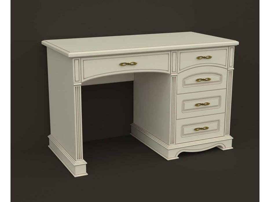 Arco: Esperansa: стол письменный  5 ящ. (белый, патина- коричневая)