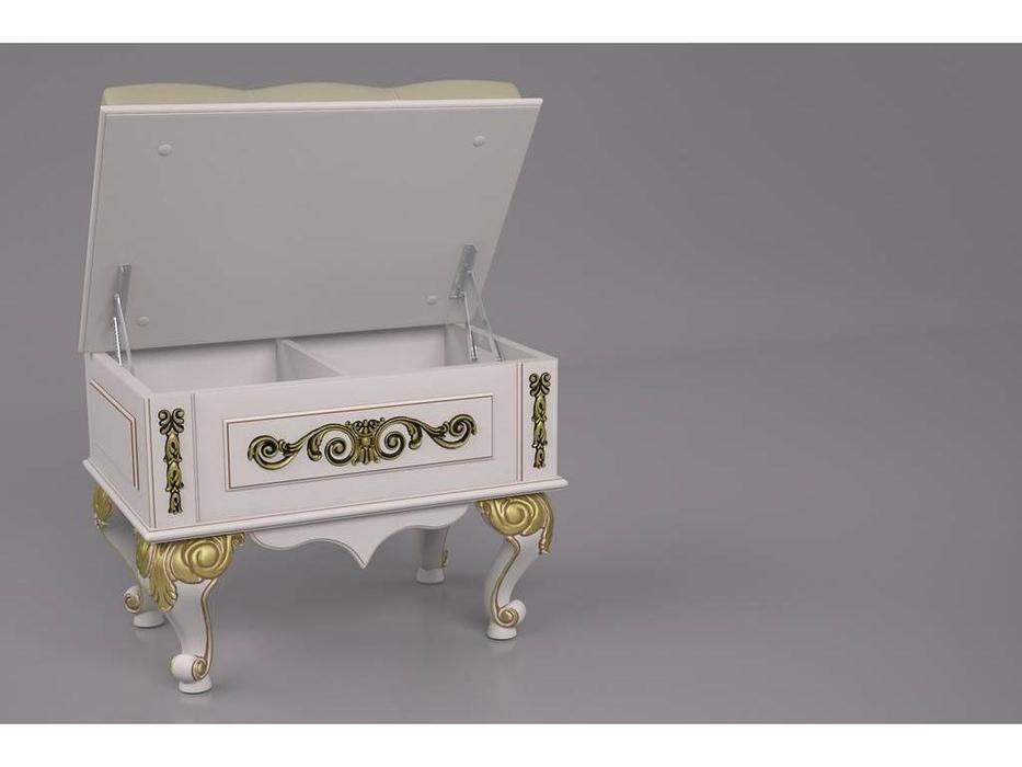 Arco: Classica: банкетка  (беж, золотая патина, экокожа)