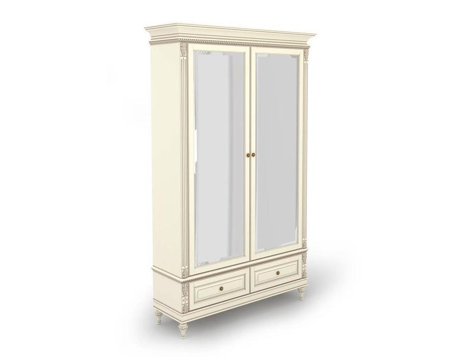 Arco: Decor Alt: шкаф 2 дверный  с зеркалами (белый, патина)