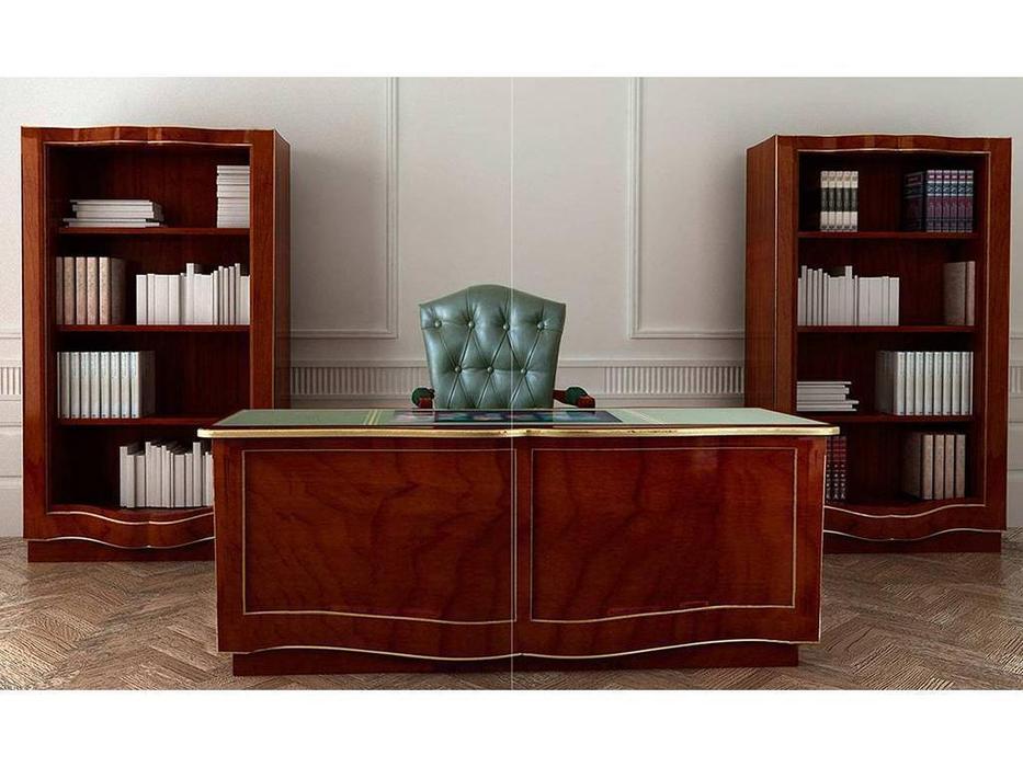 DeMiguel: Exclusive: стол письменный 2-х тумбовый Gold Edition  (орех, экокожа)