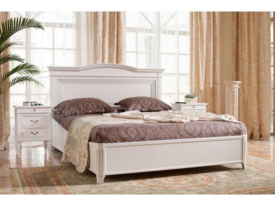 Mmobili: Signoria: кровать  160х200 с подъемным мех-м (белый с патиной)