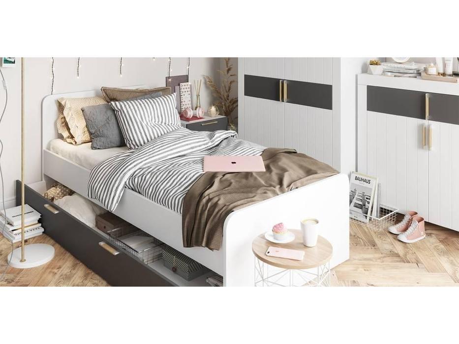Szynaka: Picolo: кровать 90х200  с ящиком (белый, серый)