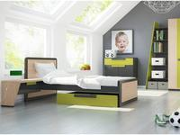 Szynaka: Wow: кровать  120х200 (дуб, графит, зеленый)