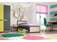 Szynaka: Wow: кровать  90х200 (дуб, графит, зеленый)