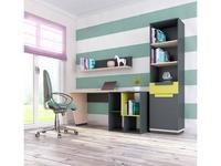 Szynaka: Wow: стол письменный комплект с 2мя стеллажами (дуб, графит, зеленый)