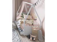 Szynaka: Picolo: кровать 90х200  с ящиком и рамой (белый, серый)