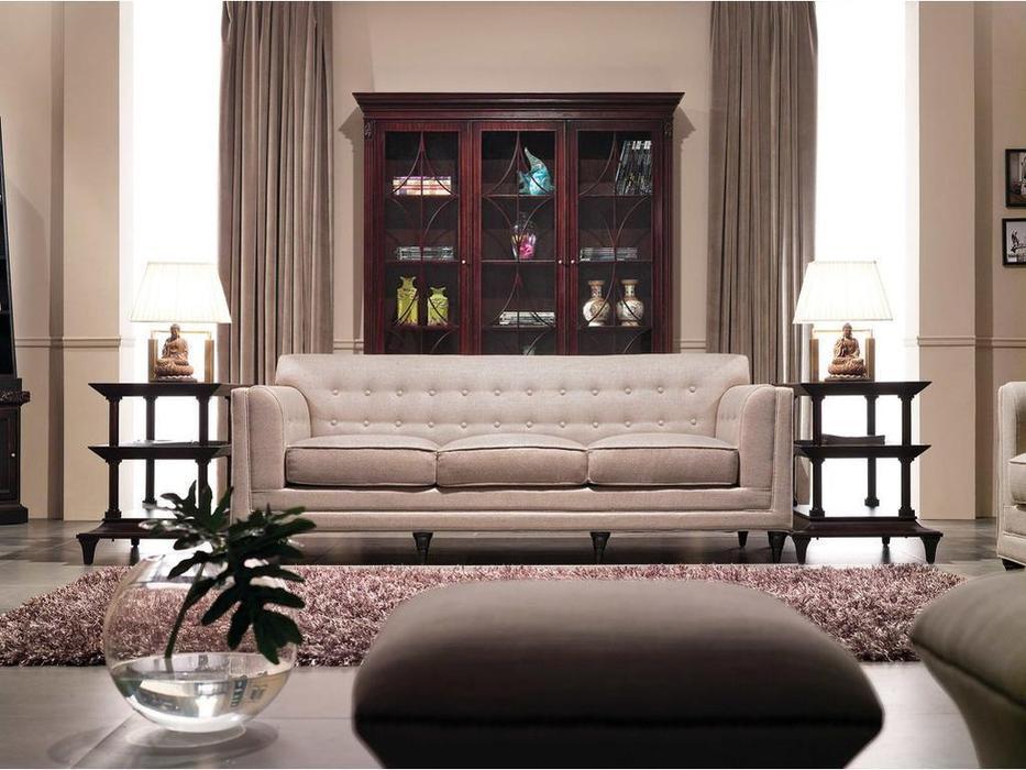 Fratelli Barri: Mestre: диван  (махагон, ткань кремовая рогожка)