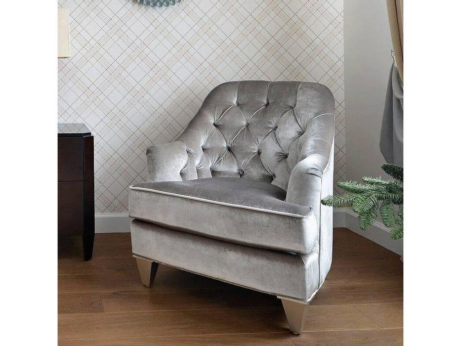 Fratelli Barri: Mestre: кресло  ткань серебристо-серый велюр (сусальное серебро)
