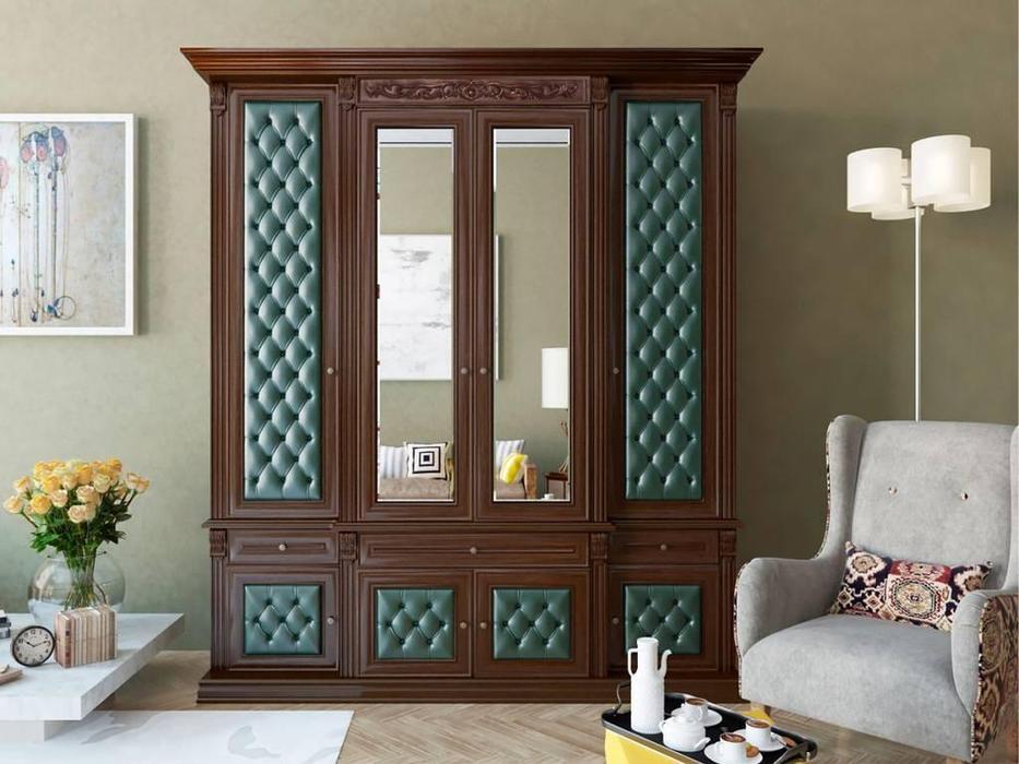 Благо: шкаф 4 дверный  с декором (орех, зеленый)