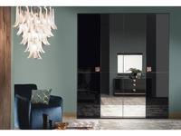 ALF: Mont Noir: шкаф 4-х дверный  с зеркалами (black high gloss)