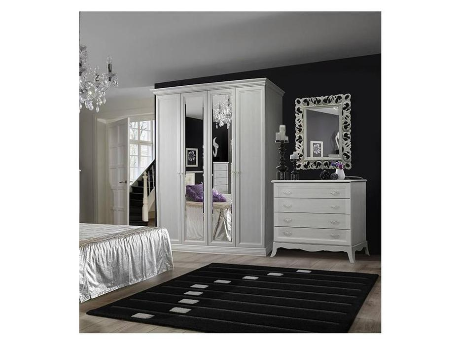 ЯМ: Амели: шкаф 4-х дверный   2 зеркала (выбеленный дуб)