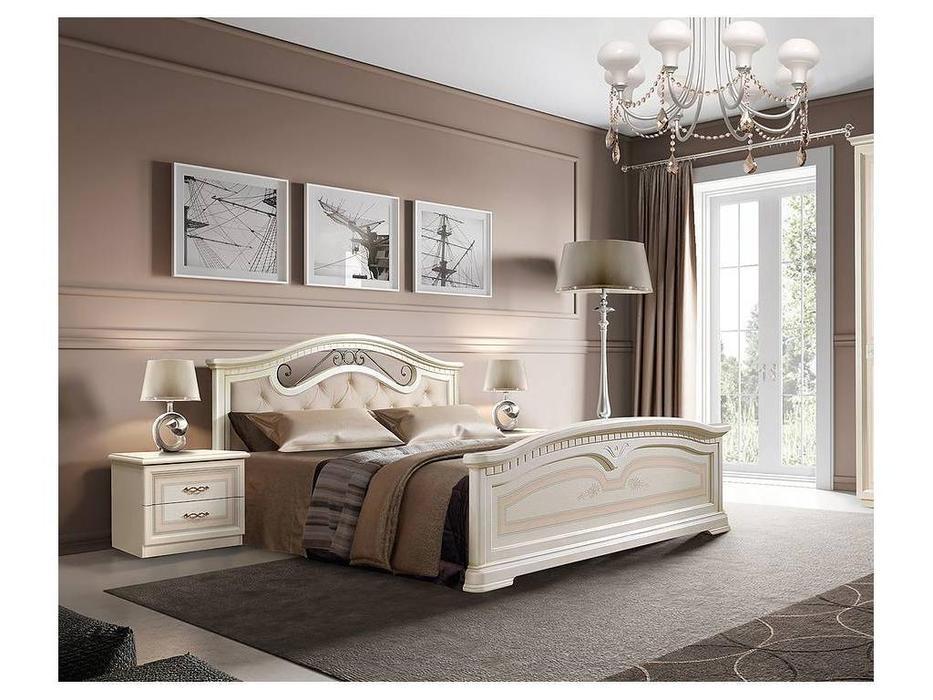 ЯМ: Анна: кровать ] 160х200 с мягким эл-м с под-м мех-м (крем)