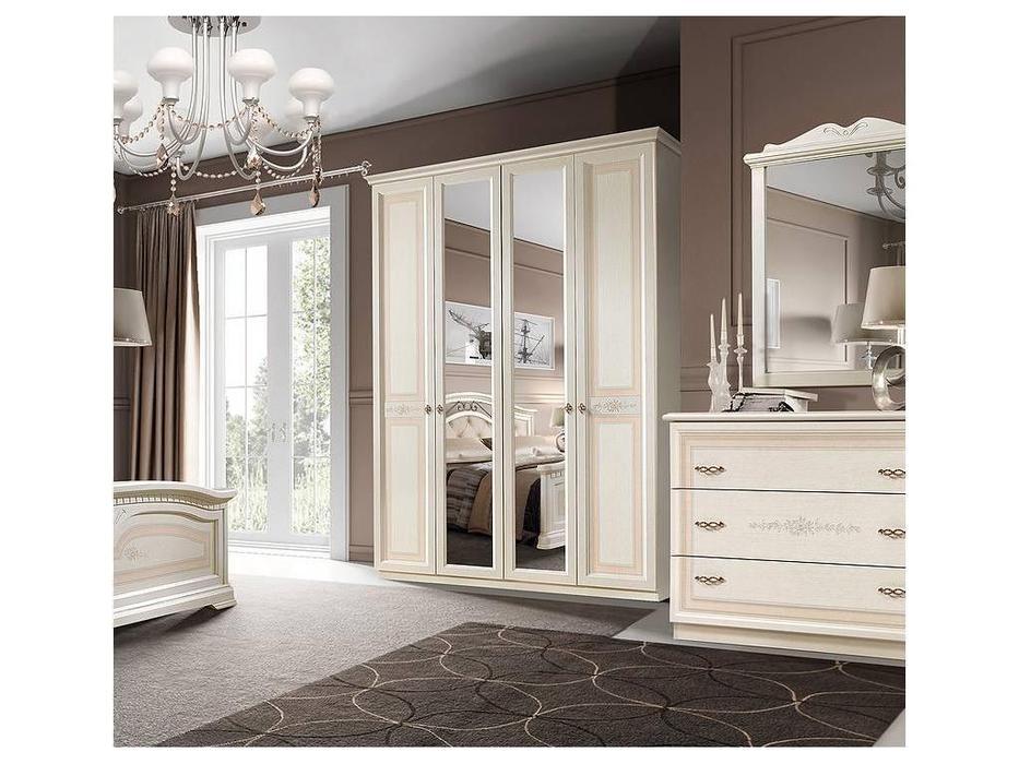 ЯМ: Анна: шкаф 4-х дверный  2 зеркала (крем)