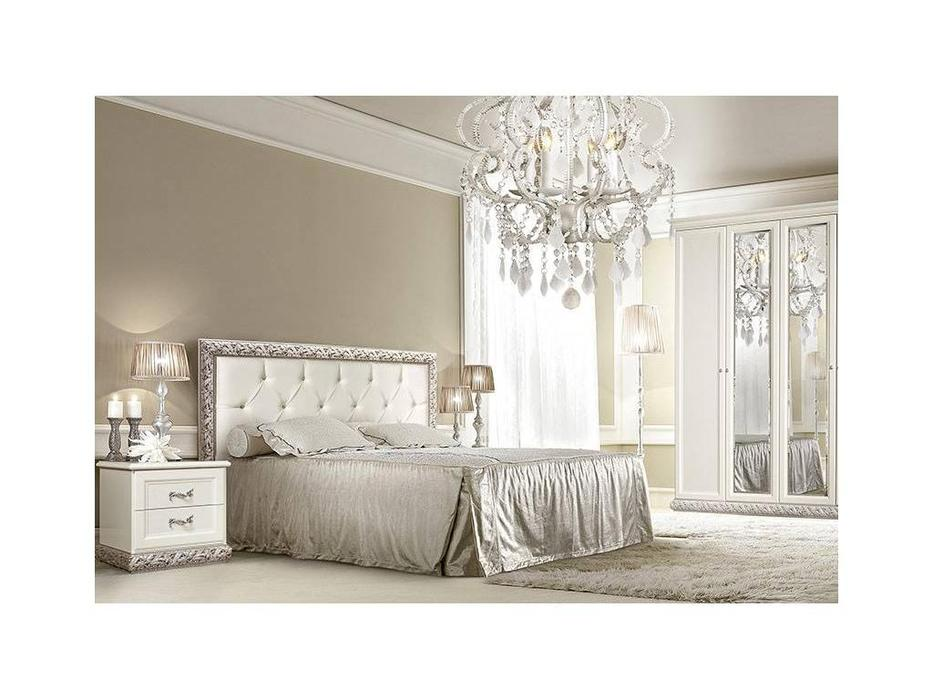 ЯМ: Тиффани: кровать [7] 160х200 с мягким эл-м, стразы, с под-м мех-ом (крем, серебро)