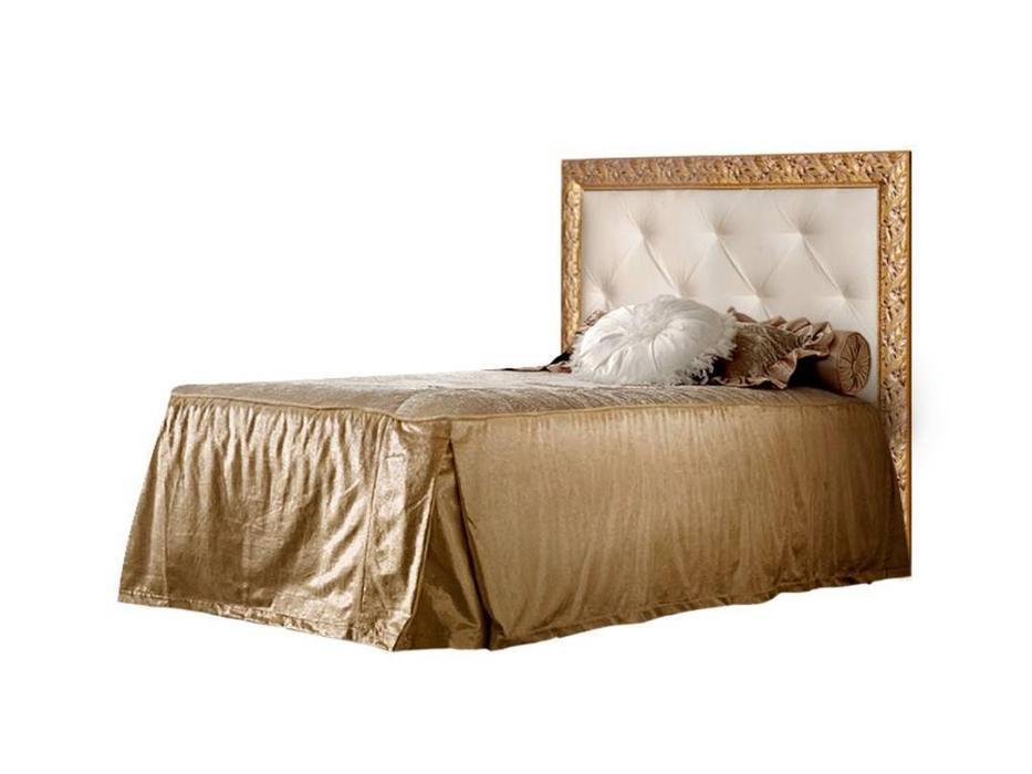 ЯМ: Тиффани: кровать  140х200 с мягким эл-м со стразами (крем, золото)