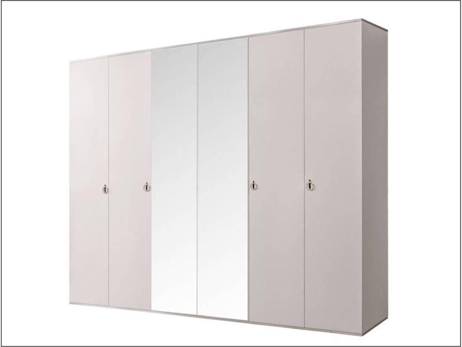 ЯМ: Римини: шкаф 6-ти дверный  с зеркалами (слоновая кость, серебро)