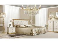 ЯМ: Тиффани: кровать  160х200 с мягким эл-м со стразами (крем, золото)
