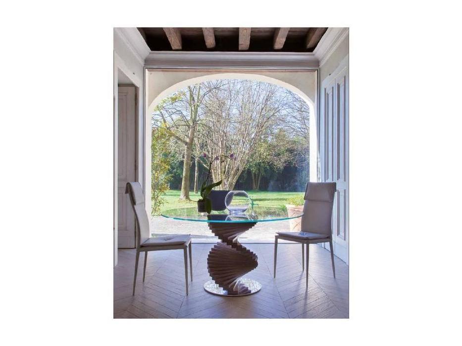Tonin: Firenze: стол обеденный круглый  (дуб, стекло)