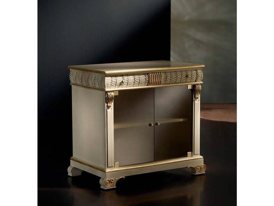 Llass: Da Vinci: тумба под телевизор  дверцы без рамки (слоновая кость, золото)