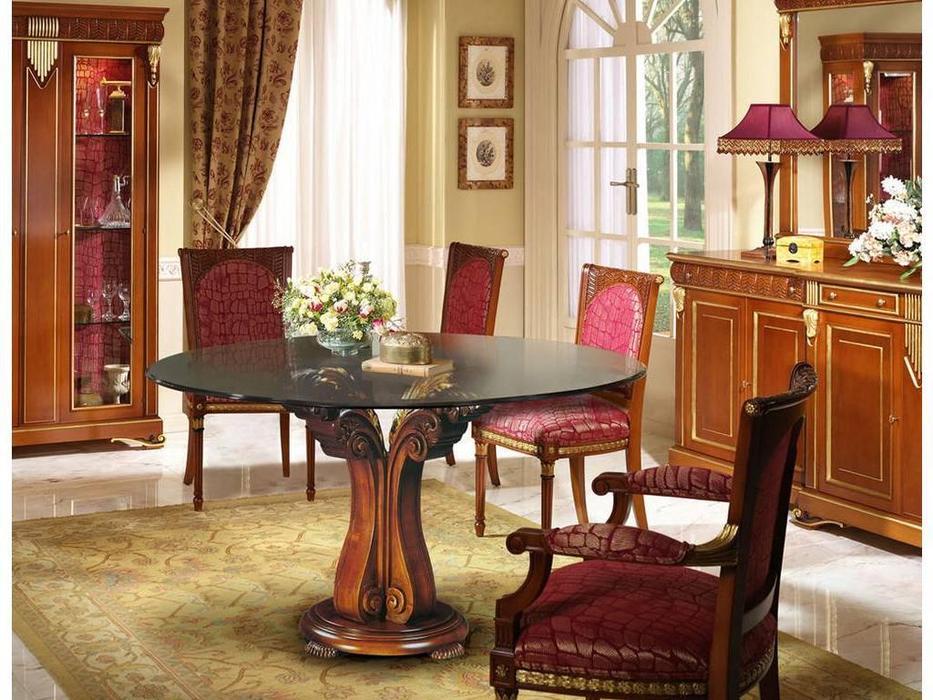 Llass: Da Vinci: стол обеденный  (орех, стекло)