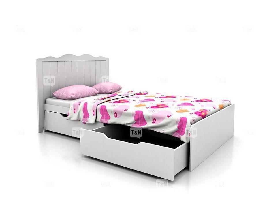 Tomyniki: Grace: кровать 120х190 с ящиками  (белый)