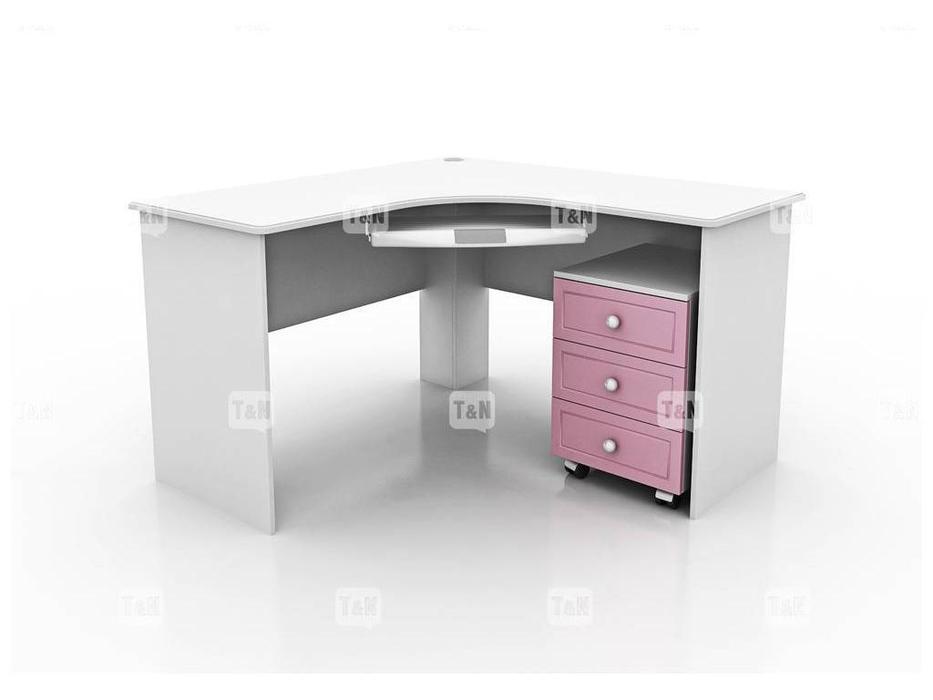Tomyniki: Michael: стол письменный  угловой (белый, розовый, зеленый, беж)