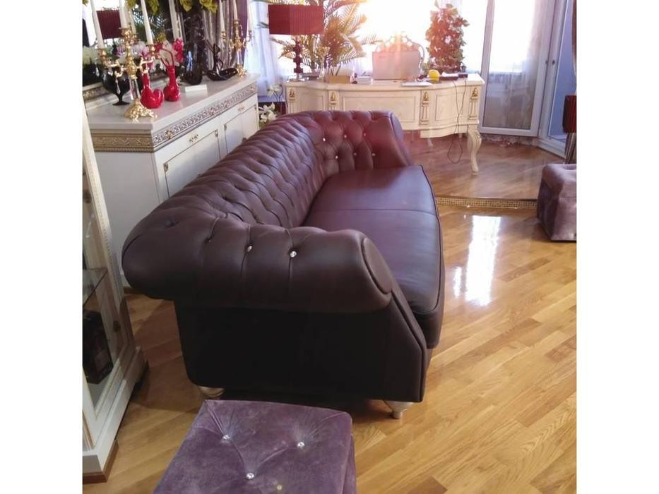 Cubo Rosso: Chester: диван 3 местный cat. C col.3220 ножки - серебро