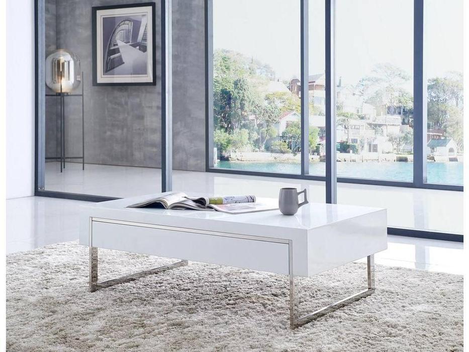 ESF: стол журнальный  с 2 ящиками (белый)