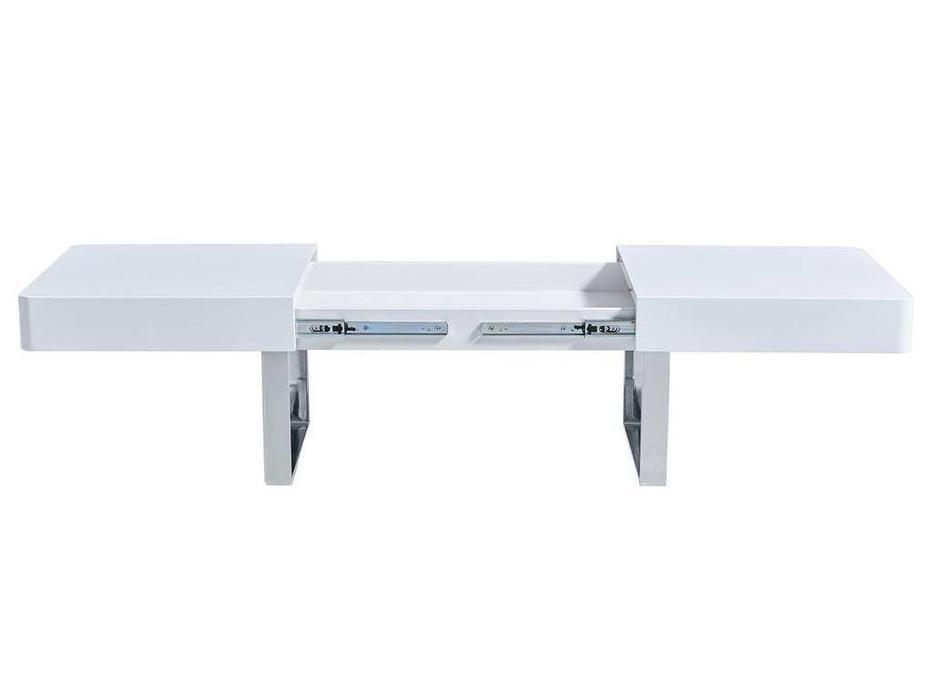 ESF: Modern: стол журнальный  с ящиком (хром, белый)