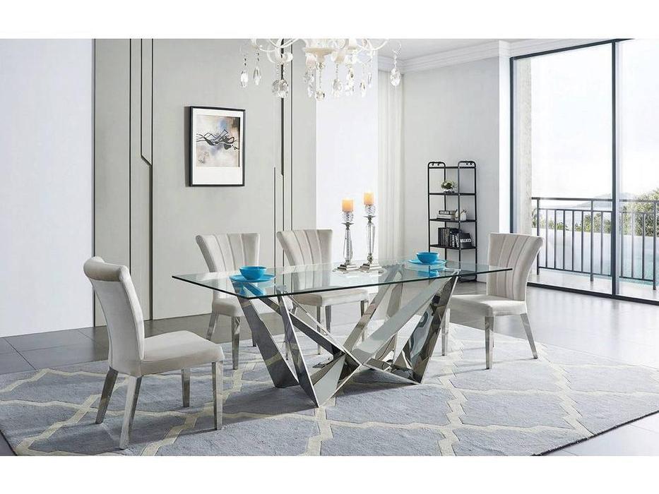 ESF: Modern: стол обеденный  (хром, стекло)