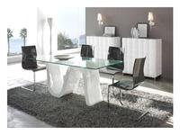 СФ: стол обеденный  Dupen стекло, белый лак