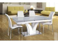 ESF: стол обеденный раскладной  (стекло, белый)