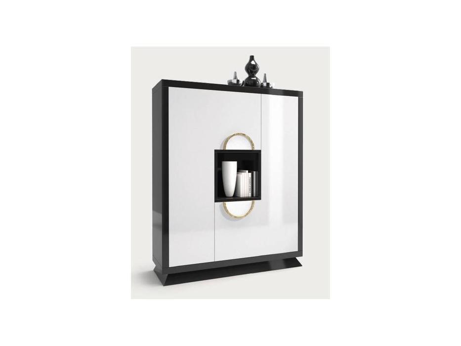 Zache: Prestige: витрина 2-х дверная-бар (Blanco brillo Negro brillo Pan de Oro)